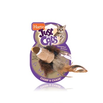 Игрушка для кошек - чирикающая птичка, мягкая
