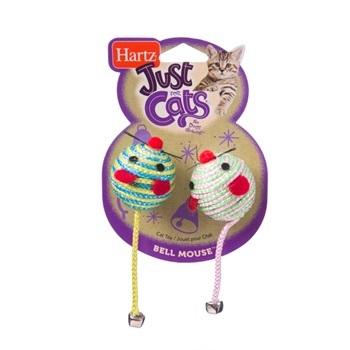 Игрушка для кошек - Две круглых мышки, с колокольчиками, мягкая